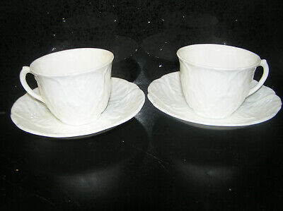 Coalport Countryware Pair Of Coffee Cups & Saucers White Cabbage English China • 20£