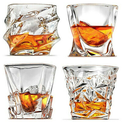 400ml Clear Glass Crystal Tumbler Whisky Spirit Glasses Set Of 1, 2 - 4 Types • 9.99£