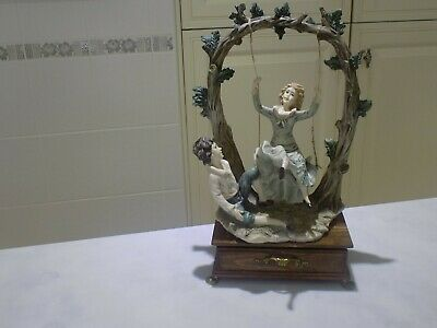 LARGE & HEAVY;-Victorian LADY On SWING; With Boy &Drawer-Please Read Description • 15£