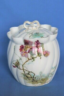 Antique A. Lanternier Limoges China Biscuit Barrel, Wild Rose Design. • 14.99£
