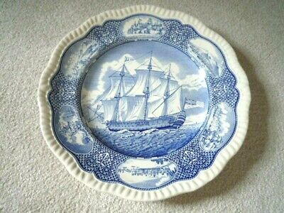 Spode England - The Nelson Plate (HMS Victory, Naval) Large Blue & White Plate • 4.99£