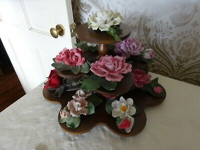 Franklin Mint Capodimonte Porcelain The 12  Months Of Roses On Display Stand  • 74.99£