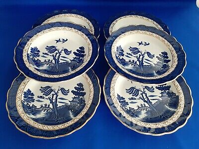 Booths Real Old Willow A8025 Set Of 6 Soup Bowls Gold Edging • 20.99£