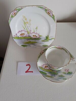 Royal Paragon Water Lily Fine China Tea Cup, Saucer And Square Plate • 15£