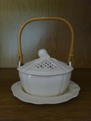 Leeds / Royal Creamware Condiment Basket With Cane Handle And Plate • 15£