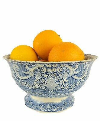 LARGE Antique Victorian Blue And White Nautical Transfer Ware Footed Fruit Bowl • 24.99£