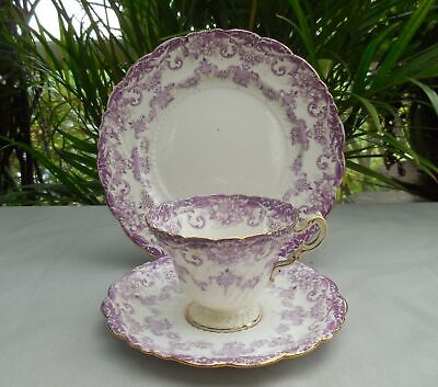Rare Antique Lilac Floral 1374 Pattern Paragon Star China Tea Cup Trio C1903 • 10£