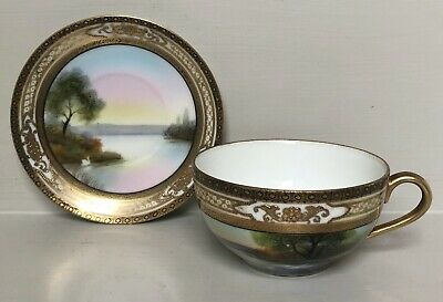 Antique Noritake Cabinet Cup & Saucer Hand Painted Country Scene Lake Swan • 28£