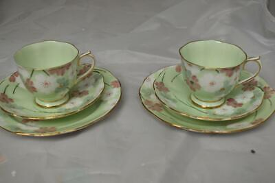 Vintage Royal Albert  Pale Green/Floral China Cups Saucers Plates 6 Pieces • 16£