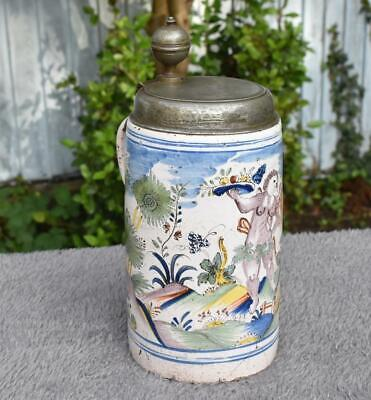 RARE ANTIQUE DATED 18thC DUTCH POLYCHROME DELFT TANKARD  DATED 1799 PEWTER LID • 85.89£