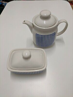 Melba Staffordshire Kitchen Ware Butter Dish & Teapot Blue & White Gingham Style • 15£