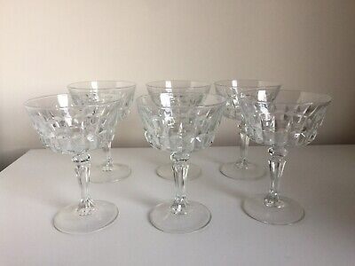 6 X Cut Glass Champagne Glasses Coupes Saucers With Faceted Knopped Stems • 34.95£