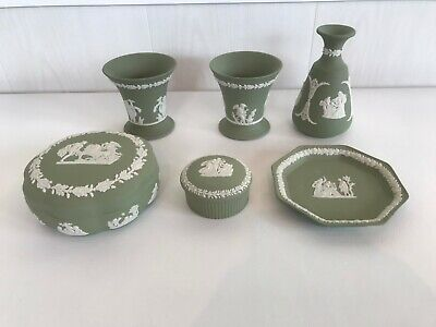 6 Assorted Wedgwood Green Jasperware  Pieces In Excellent Condition . • 0.99£