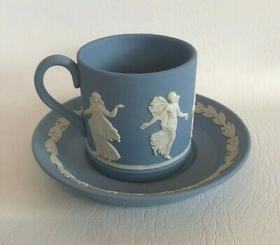 Wedgwood Jasperware Dancing Hours Coffee Can/Saucer In Excellent Condition . • 14.99£