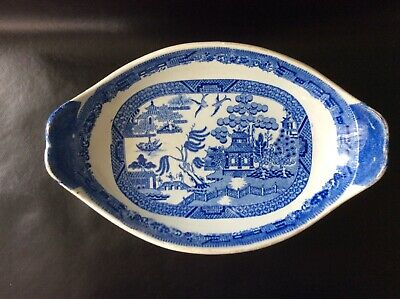 Antique Porcelain Blue And White  Willow Pattern Oval Dish • 1.99£