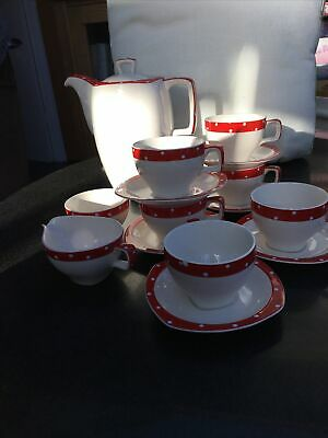 Vintage Midwinter Stylecraft Red Domino 6 Cups And Saucers Jug Sugar Coffee Pot • 25£