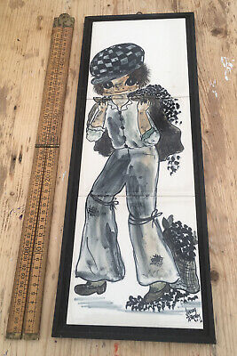 Retro Vintage Jersey Pottery Tiles Picture Of Boy, Vintage Tiles Picture • 20£