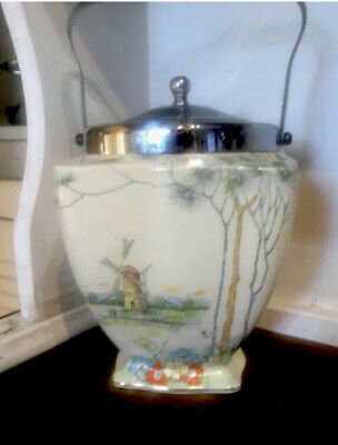 Vintage Pottery Footed & Lidded Biscuit Barrell The Fens# 6606 • 19.99£