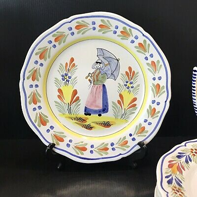 HB HENRIOT QUIMPER 10  FLUTED WALL Cabinet PLATE WITH BRETON Umbrella EXCELLENT! • 32.92£