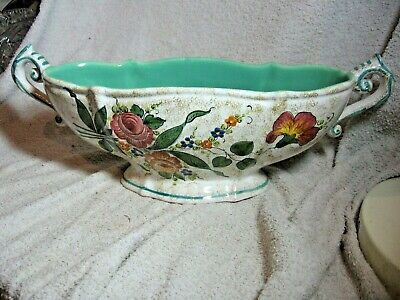 Vintage Wide Two Handle Footed Vase (hand Painted) Marked C.t.9530 Foreign. • 25£