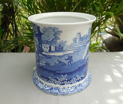 Spode Italian Blue & White Utensil Pot Biscuit Barrel Base Planter • 13£