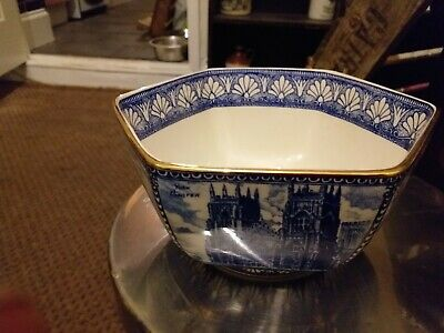 A RINGTONS Hexagonalbowl By Wade 7 Historical Castles / Abbey  Blue White 10cm X • 1.99£