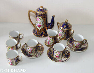 Rare Early Noritake Coffee Set - Cobalt Blue And Gold - Hand Painted Roses • 1.20£