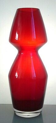Vintage Riihimaki / Riihimaen Lasi Oy Finnish Red Glass Vase By Aimo Okkolin • 19.99£