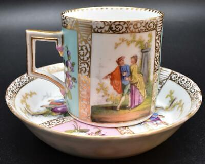 Finest Antique 19thC Dresden German Porcelain Cup And Saucer - Matched Romantic • 19£