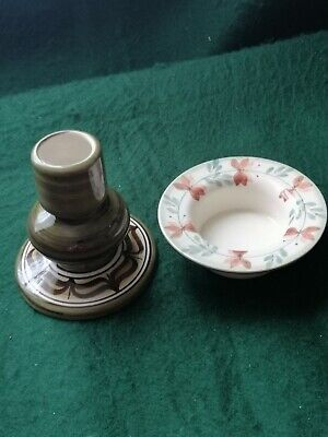 Jersey Pottery Candlestick And Tiny Dish  • 5£