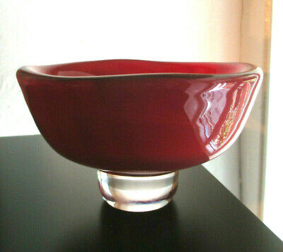 Stylish Rare Footed Bowl With Red/ Dark Clouds, Sven Palmqvist, Orrefors,1950s • 45£