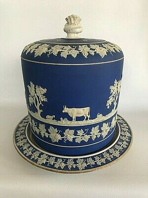 Blue Jasperdip Very Large Cheese Dome In Excellent Condition Maker Unknown . • 19.99£