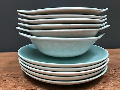Poole Pottery TwinTone Seagull Mottled Grey & Ice Green Soup 6 Bowls & 5 Saucers • 40£