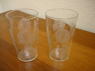 Lovely Pair Of Vintage  Etched Water Glasses / Tumblers • 12£