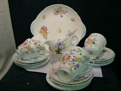 Stunning Shelley China  Wild Flowers Tea Set For 6 Complete 21 Pieces  • 49.99£