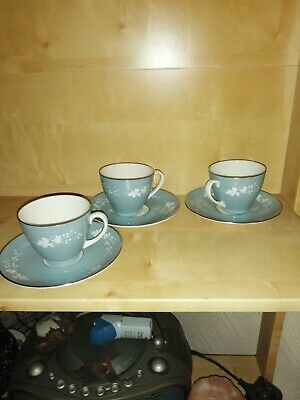 3 Coffee Cups And Saucers Royal Doulton English Translucent China • 4£