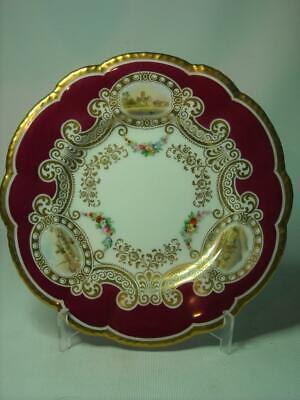 Antique Grainger & Co Hand Painted WORCESTER MALVERN Scenes In Cartouche Plate • 99.95£