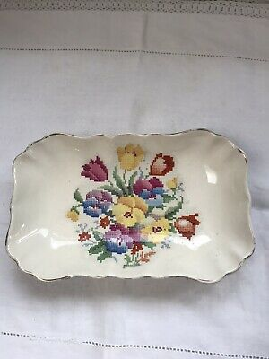 Sandland Ware Floral Needlepoint Design Serving Dish • 4.50£