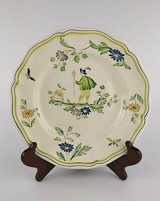 VINTAGE Longchamp 'Moustiers' FRENCH FAIENCE Rustic Countryside Tin Glazed PLATE • 39.99£