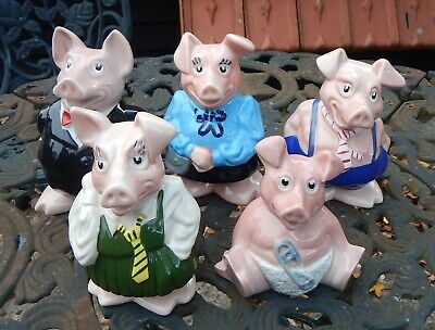 Wade Set Of Five Natwest Piggy Banks - All With Original Stoppers • 47.99£