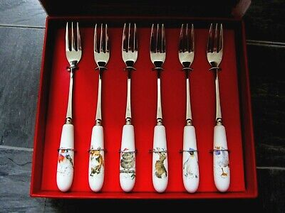 Royal Worchester Wrendale Set Of 6 Christmas Pastry Forks - BNIB • 12.50£