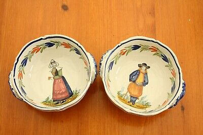 Vintage Quimper French Pottery Bowls • 12.50£
