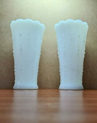 Pair Of Vintage White Pressed Glass Vases • 15£