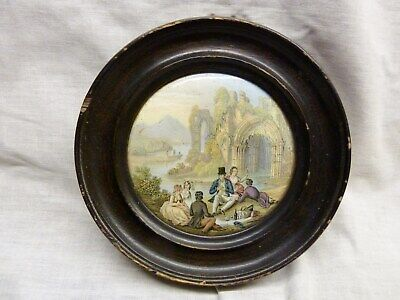 Lovely Rare 1860s Prattware Pot Lid Framed Picnic By The Ruins Victorian Travels • 9.99£