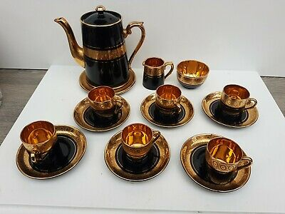Gibson & Sons LATE Sevres Davenport Gorgeous Black And Gold Complete Coffee Set • 100£
