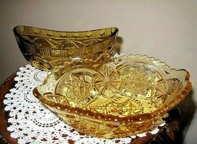 2 VINTAGE SOWERBY AMBER GLASS SALAD BOATS IN VERY GOOD CONDITION 1950s • 10£
