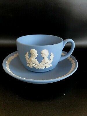 Blue Wedgwood Jasperware Royal Wedding Tea Cup/Saucer  In Excellent Condition . • 14.99£