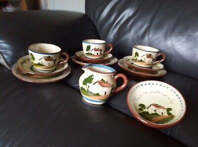 Devon Ware 3 Cups/saucers/side Plate Cream Jug & Sugar Bowl • 2£