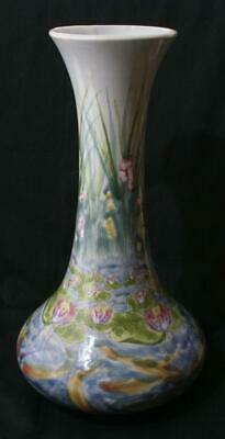 Stunning Cobridge Stoneware Large Vase Signed AD Water Lilies 13  In Height • 51£