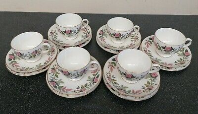 6 X Wedgwood Hathaway Rose Tea Trios Cups Saucers And Side Plates Set • 19.95£